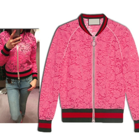 Pinkish Red Lace Jacket W/d Green & Red Stripes